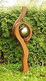 Gartendeko Skulptur Rostsäule mit großer Edelstahlkugel