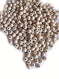 Unbekannt 100, 200 o. 400 Holzperlen, 8mm, hell, Natur, Perlen basteln, Schmuck herstellen (100)