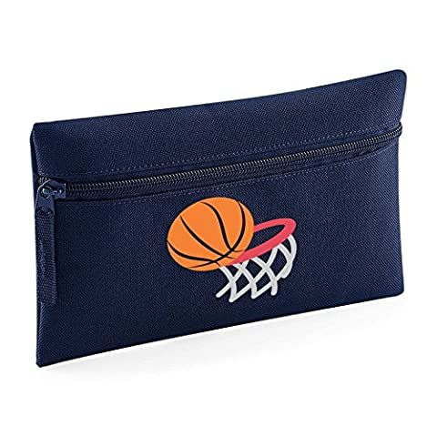 Apparel Printing Emoji Basketball And Hoop Pencil Case, French Navy