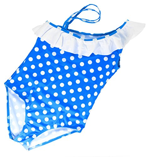 Mädchen Kinder Badeanzug Bademode Badeanzug Beachwear L 60134–158cm Gr. 9 Jahre, blau / weiß (Mädchen Polka Badeanzug Dot)