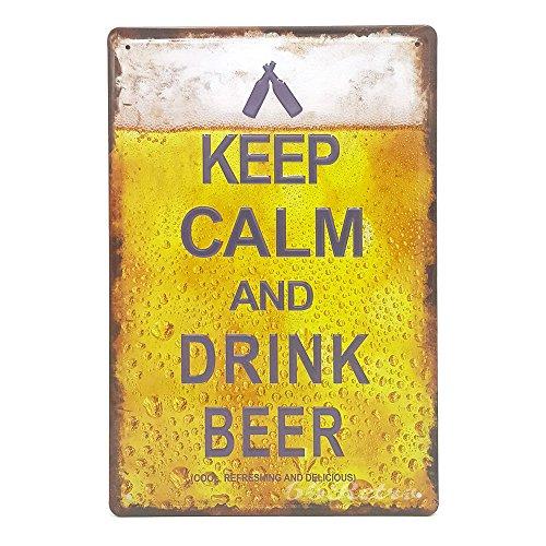 Keep Calm and Drink Beer, Retro geprägt Metall blechschild, Wand Deko Schild (Gewicht-verlust-katze)
