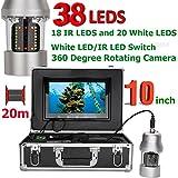 AINGOL 10 Pulgadas de Pesca submarina cámara de vídeo buscador de Peces IP68 Impermeable 38 Leds 360 Grado cámara giratoria,20m