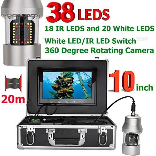 AINGOL 10 Zoll Unterwasser-Fischerei Video Kamera Fischfinder IP68 Wasserdicht 38 LEDs 360 Grad Rotationskamera,20m -