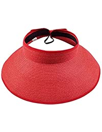 1212e5c2077 Livecity Women s Summer Wide Brim Roll Up Foldable Sun Beach Straw Braid  Visor Sun Hat