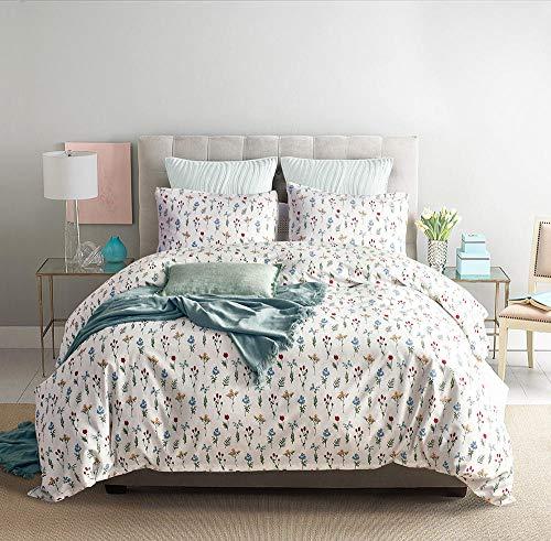 Anmou Bettwäsche Set - 3 Sets Von Einfachen 100% Baumwolle Süßen Mini Pastoralen Stil Bunten Blumendruck, Weiß, Single: 168Cm X 229Cm -