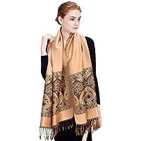 Bureze Lyza Femme Folk Style très écharpes d'hiver chaud doux pour la peau Châle Jacquard Pompon Tissu Écharpe