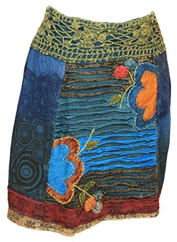 (Nepal Ethno Pagan Wicca Festival Hippie Patchwork Goa Psy Trance Mini Rock Razorcut Flower Skirt 36 38 40 42 44, Farbe:türkis, Größe:36)