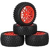 Youzone Red de plástico 16 Spoke neumáticos de las ruedas Llantas + H Negro Tipo de neumáticos de caucho para RC 1:10 Off Road Buggy de coches piezas de repuesto (paquete de 4)