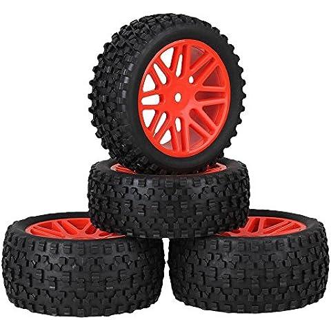 Youzone Red de plástico 16 Spoke neumáticos de las ruedas Llantas + H Negro Tipo de neumáticos de caucho para RC 1:10 Off Road Buggy de coches piezas de repuesto (paquete de