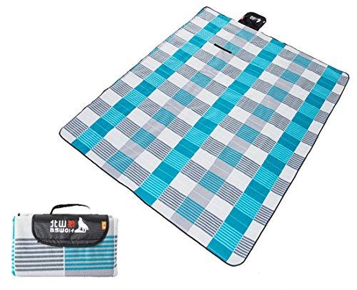 Honeystore 200*200 Flanell Wasserdichte Yoga Sechseck Matte Strand Ausflug Picknickdecke Blau Grau Streifen