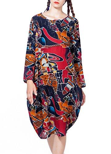 ELLAZHU Femme Midi Robe Cotton&Linen Bohémien Imprime Taille unique GY272 SZ354 Rouge