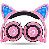 Dragon Touch Cat Ear Headphones Foldable Over-Ear Gaming Headsets Wired Earphone with LED Glowing Lights for PC Laptop Computer Tablet iPhone and Android Mobile Phone - Rosa