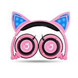 Dragon Touch Cat Ear Headphones Foldable Over-Ear Gaming Headsets Wired Earphone with LED Glowing Lights for PC Laptop Computer Tablet iPhone and Android Mobile Phone - Pink