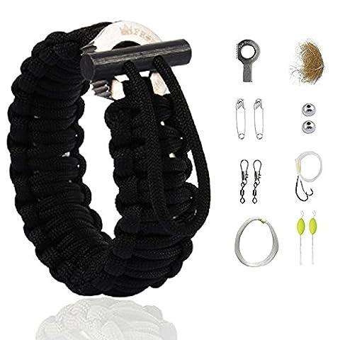 """The Friendly Swede Bracelet Multi-fonction en Paracorde avec Kit de Survie """"Grenade"""" pour la Randonnée - GARANTIE A VIE (Noir, Unique)"""