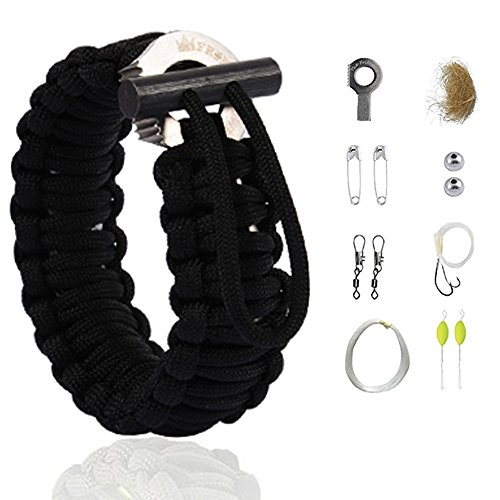 The Friendly Swede Multifunktions Paracord Survival-Armband - ideales Survival-Kit (Schwarz)