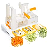 Zestkit 3-Klingen Gemüse Spiralizer Box Set Spiralschneider mit Reinigungsbürste