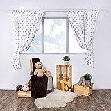 LULANDO Kinderzimmer Vorhänge Kindervorhänge Gardinen (155 cm x 120 cm) mit zwei Schleifenbändern zum Verzieren. In kinderfreundlichen Motiven erhältlich. Farbe: Grey Stars/White