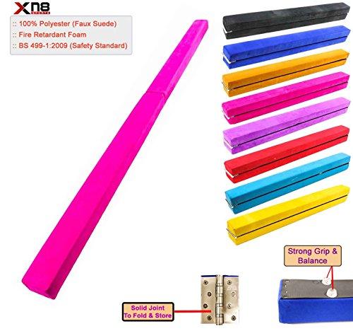 Barra de equilibrio plegable de gimnasia de 213 cm y 243 cm, de ante sintético, para gimnasia en casa, entrenamiento, ejercicio, deportes, rosa, 8 Feet