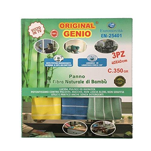 Euronovità panno per pulizia casa, vetri, mobili in fibra naturale di bambù 350g 40x40cm, 3 pezzi en-25401
