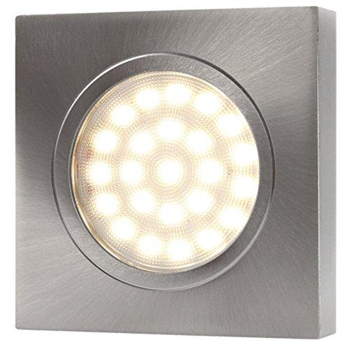 LED Aluminium Aufbaustrahler eckig – DIMMBAR – 2W 120lm – edelstahl-gebürstet – warmweiß (3000 K) - 3