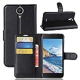 Guran® Funda de Cuero PU Para Wiko Harry Smartphone Función de Soporte con Ranura para Tarjetas Flip Case Cover Caso-negro