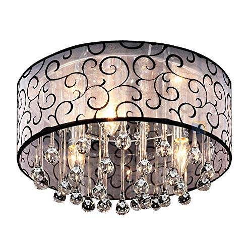 ZYY Moderne Trommel Stoff Kristallleuchter Trommel Decke Licht Schatten 3 Lichter E14 Unterputz Kronleuchter Lampe Kristall Tropfen Leuchten Regen Tropfen Dekoration für Küche, Esszimmer, Schlafzimmer