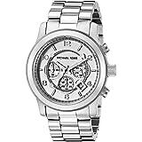 Michael Kors Michaël Kors - Reloj analógico de cuarzo para hombre con correa de acero inoxidable, color plateado
