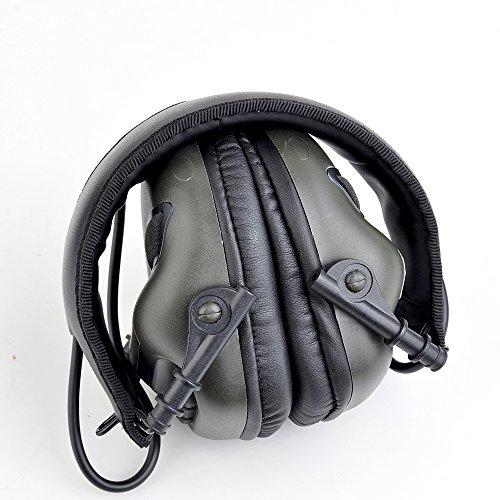 opsmen Elektronischer Gehörschutz Weiche Ohrenschützer Kopfhörer mit AUX Eingang M31Serie Unterdrückt schädliche Gunshot Noise Verstärkung tiefhängend Sounds, grün - Grün Sound