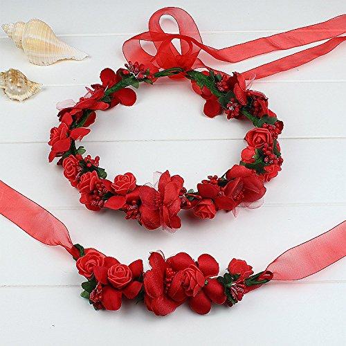 Atrezzo Novia Comunion Damas de Honor madrinas de diadema corona de flores rojas y pulsera con cierre cinta gasa diseños ideales novedad 2018 de OPEN BUY