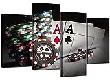 4048 Poker Leinwanddruck-Set, 130 cm, Schwarz / Weiß / Rot