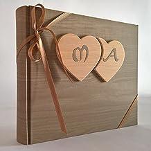 Album fotografico innamorati carta effetto legno chiaro + cuori legno e iniziali personalizzabili WEDDING- SAN VALENTINO- ANNIVERSARIO