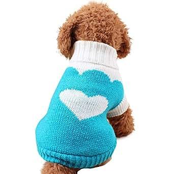 Culater® Piccoli Vestiti Del Cane Pet Dogs Cat Maglieria Maglione Del Cane Puppy Cappotto Caldo Abbigliamento A Buon Mercato per I Cani inverno Doggy Costume (XS, Blu)