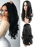 Golden Rule Femme Perruques Noir naturel ondulés synthétique Cheveux longs bouclés Perruques Mode Perruque de partie du milieu Daily Robe 55,9 cm