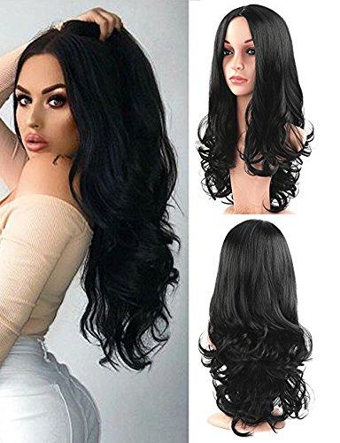 Golden Rule las pelucas de las mujeres pelucas rizadas largas onduladas naturales negras sintéticas forman la parte media de la peluca diaria del vestido 56 cm/22 pulgadas