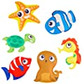 Lot de 6 Pièces D'animaux de Plongée Sous-marine pour Piscine, Poisson-clown, Etoile de Mer, Hippocampe, Phoque et Tortue, Aide à la Natation Flotteur pour les Enfants, Jouet de Piscine pour L'été et Jeu de Plongée