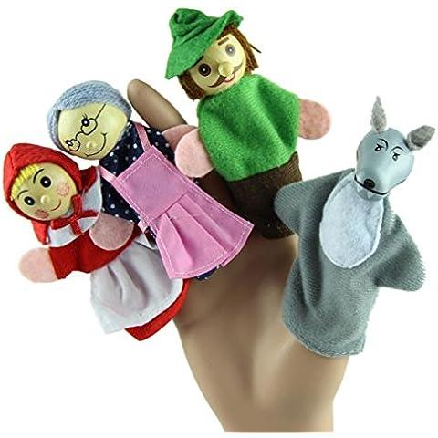 Fortan 4PCS Caperucita dedo de las marionetas regalos de Navidad juguetes educativos del bebé