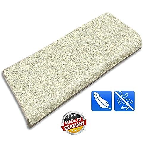 casa pura® 15x Rectangular Shaggy Carpet Stair Tread Mats, Cream | Non-Slip | Pollution Free, Incredibly Robust for High Traffic | 23.5x65cm | Matching Rug