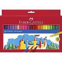 Faber Castell 554250 - Estuche de cartón con 50 rotuladores escolares, punta de fibra, multicolor