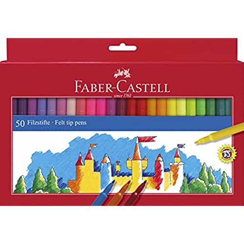 mas dibujos kawaii Faber-Castell 554250 - Estuche 50 rotuladores  con punta de fibra, multicolor