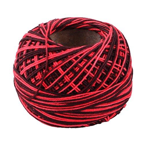 sourcingmap® Bricolage famille Pelote de laine Couture Tissage Chapeau Fil Crochet Tricot Fil à broder Noir Rouge 60g