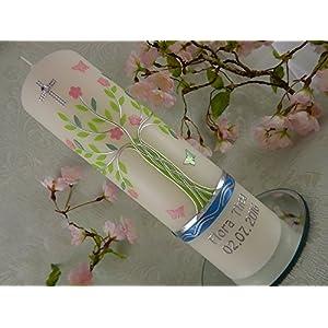 Taufkerze verziert Lebensbaum grün rosa silber modern Taufkerzen für Mädchen 250/70 mm mit Name