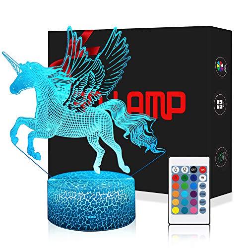 LED Lámpara de Mesa 3D Unicornio con Control Remoto Sensor Tacto, USlinsky Regulable Lámpara de Noche de Atmósfera Modo RGB, Decoracion Cumpleaños, Navidad Regalos de Mujer Bebes Hombre Niños Amigas