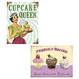 Kühlschrankmagnete Magnete für Kühlschrank Deko Cupcake Cakes Food Fun Girls Sprüche Pin Up 50s American Diner Retro Vintage Nostalgie GESCHENK SET *PIN UP & CAKES II*