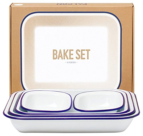 Falcon Enamelware Bake Set White and Blue Rim