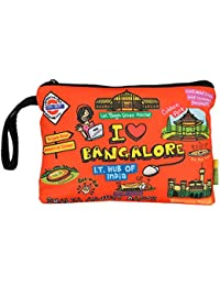 Eco Corner - I Love Bangalore - Pouch - Big - 100% Cotton / Washable / Printed On Both Sides / Zip Closure With...