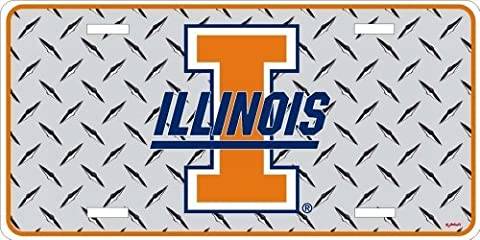 NCAA Illinois Fighting Illini Diamond Plate Car Tag by Game Day Outfitters