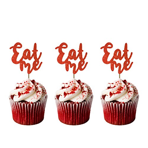 EAT ME Cupcake Topper – Afternoon Tea Party – Happy Birthday Hen Party Kuchen Topper – Pack von 8 – Glitzer rot (Tea-party-cupcakes)