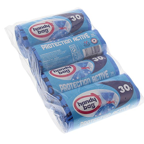 Handy Bag 4Rollen von 20Müllbeutel, 30l, mit Links, aktiver Schutz Antibakterieller, auslaufsicher, 50x 70cm, blau, blickdicht