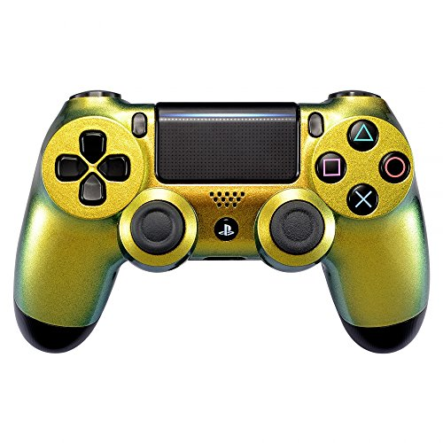 eXtremeRate® Verde y Gold Chameleon Front Shell Shell Placa para Playstation 4 PS4 Slim PS4 Pro Controller (Modelo CUH-ZCT2)
