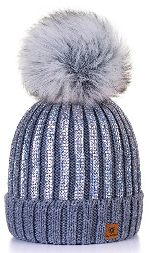 Sombrero de las Mujeres Gorro de invierno de para mujer con y pompón  multicolor Círculo de d14927ea0b2